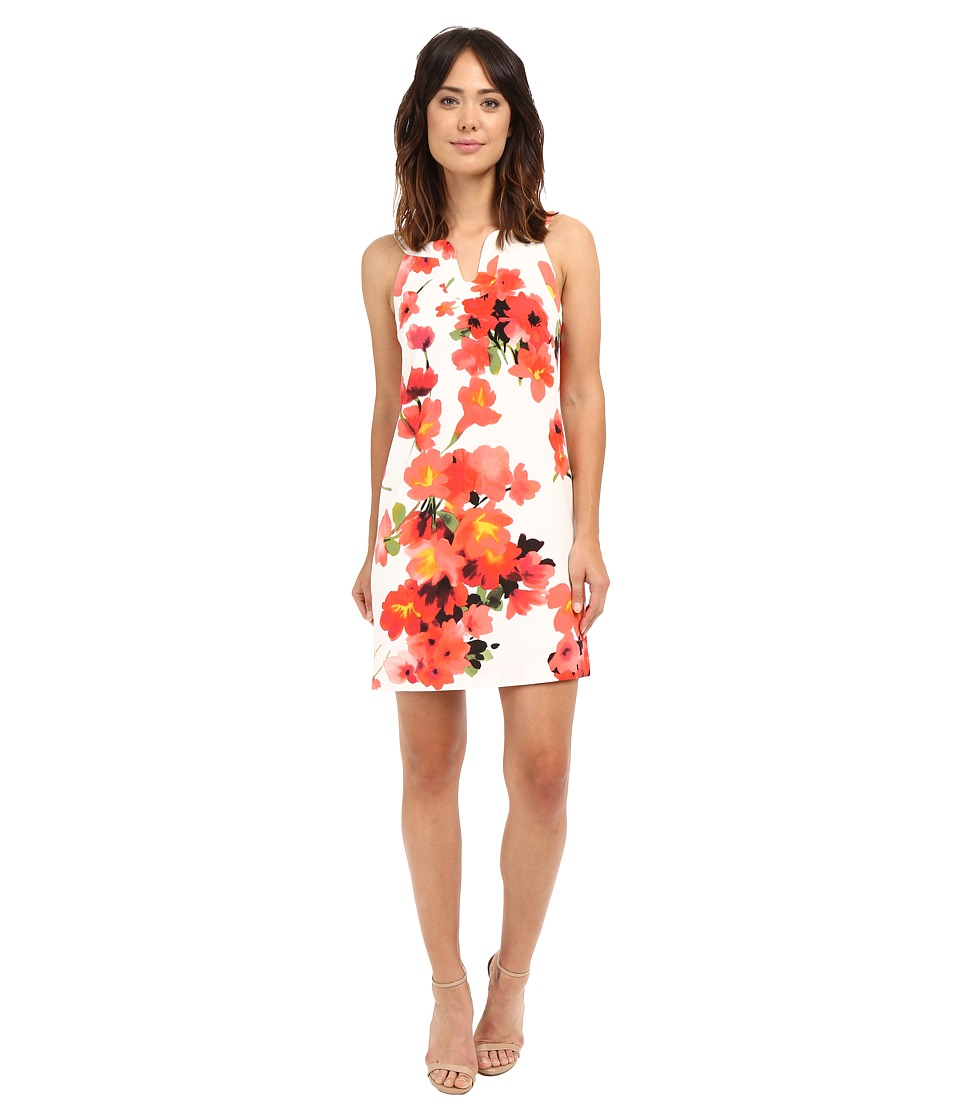 Adrianna Papell Cut Away Printed Floral Shift Hibiscus Womens Dress