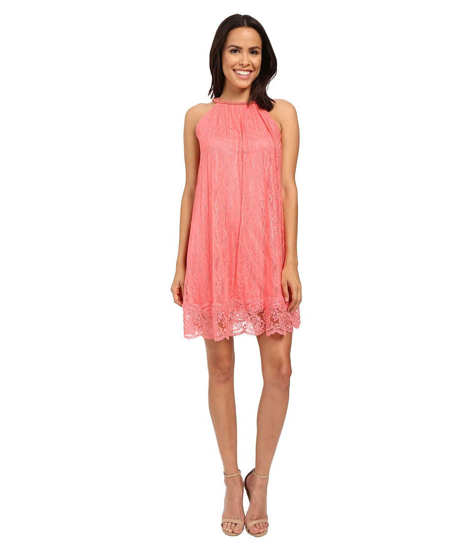 Adrianna Papell Babydoll Embellished Neckline Dress Light Coral Womens Dress