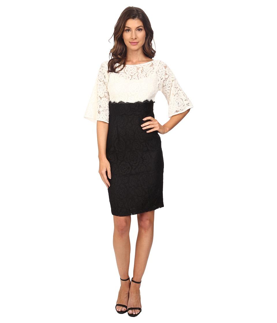 Adrianna Papell Flutter Kimono Sleeve High Waisted Sheath Ivory/Black Womens Dress