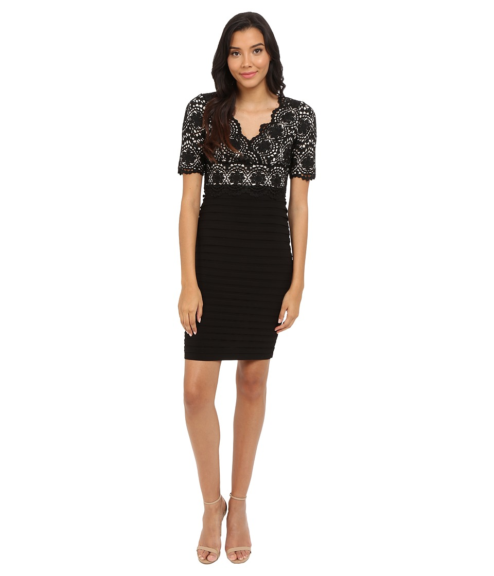 Adrianna Papell Banded and Lace V Neck Sheath Black Powder Womens Dress
