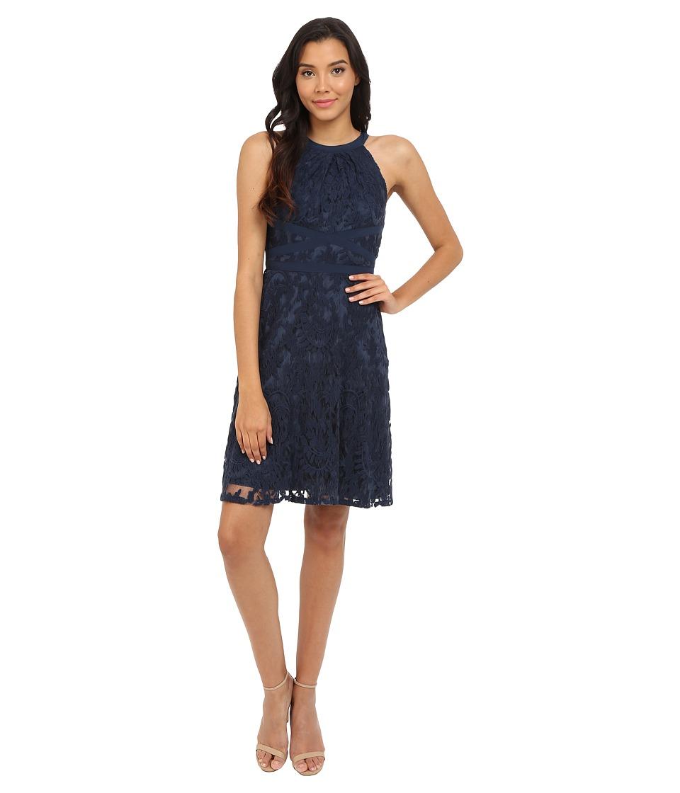 Adrianna Papell Filigree Lace Fit Flare Dress Midnight Blue Womens Dress