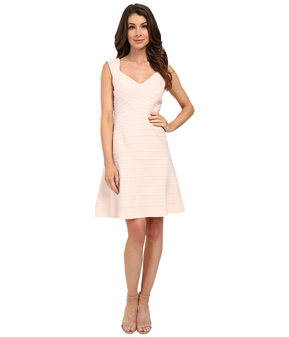 Adrianna Papell Crossover Band Fit Flare Dress Pink Sand Womens Dress