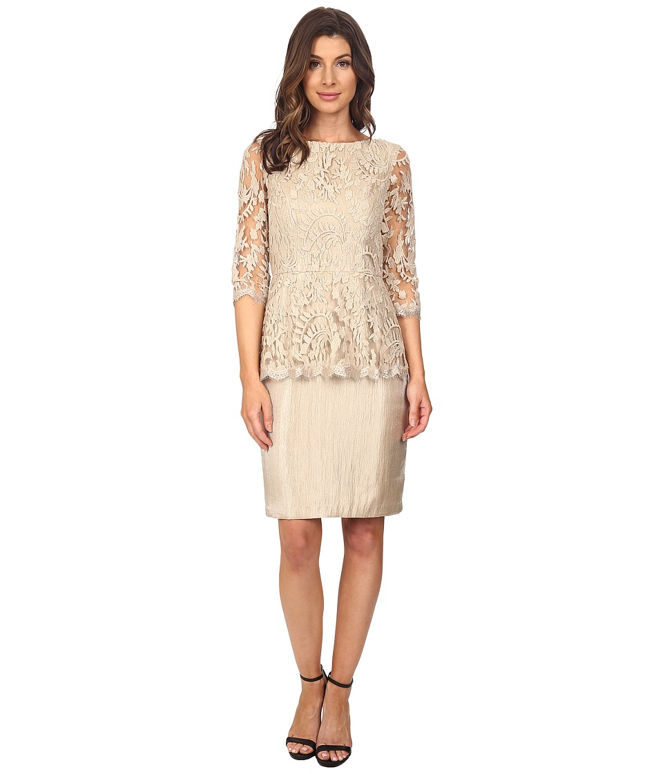 Adrianna Papell Floral Embroidery Peplum Dress Champagne Womens Dress