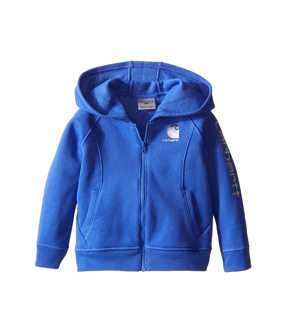 Carhartt Kids - Carhartt Logo Zip Sweatshirt (Infant) (Amparo Blue) Girl