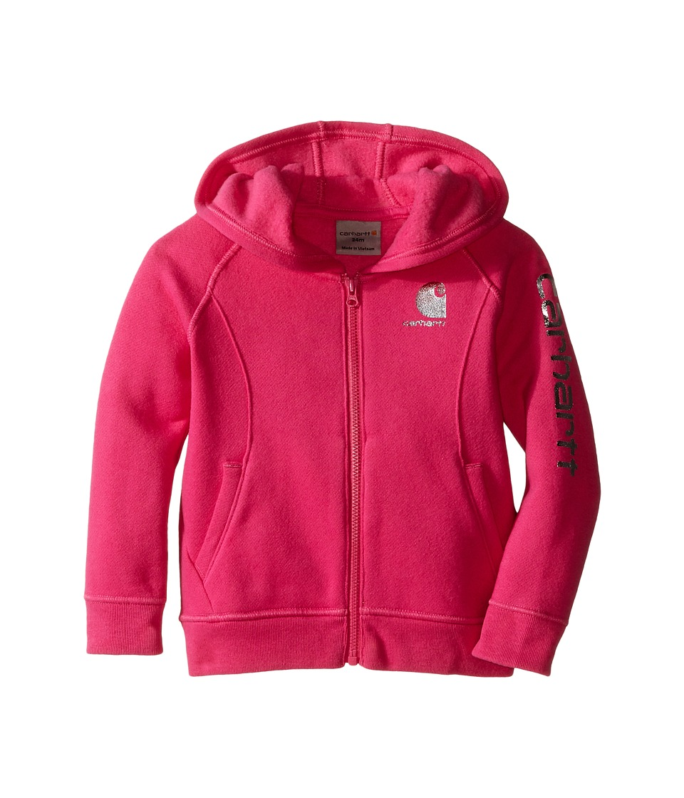 Carhartt Kids - Carhartt Logo Zip Sweatshirt (Infant) (Raspberry Rose) Girl