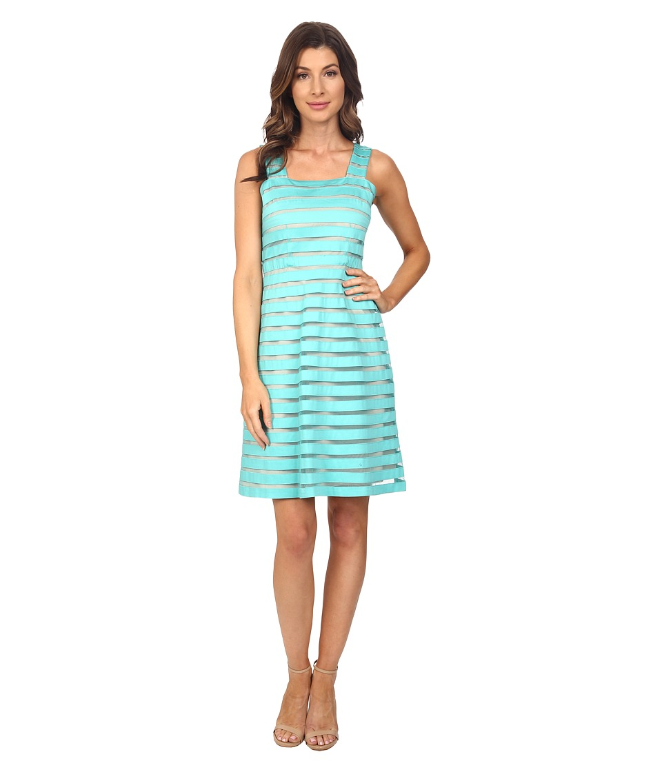 Adrianna Papell Illusion Banded Fit Flare Dress Aquamarine/Bisque Womens Dress
