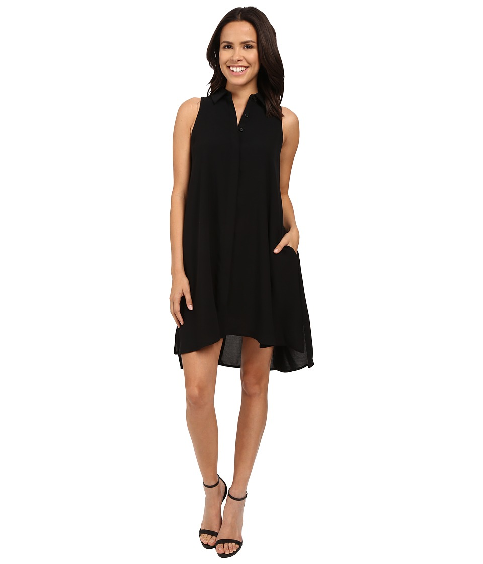 Adrianna Papell Fly Away Shirtdress Black Womens Dress