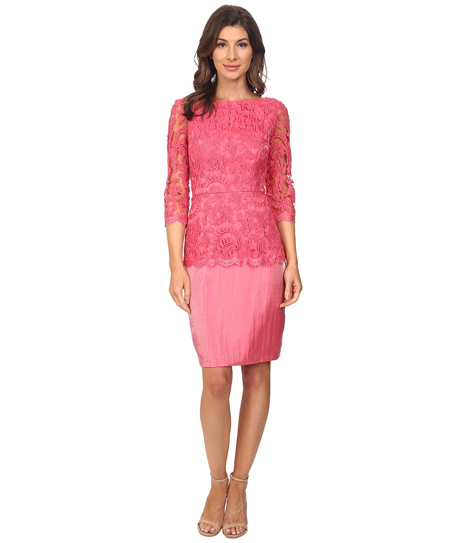 Adrianna Papell Floral Embroidery Peplum Dress French Coral Womens Dress