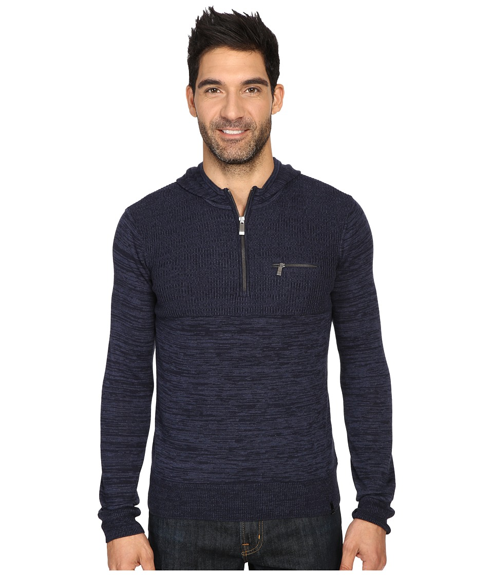 Calvin Klein - Cotton Modal Parallel Rib Sweater (Cadet Navy Combo) Men