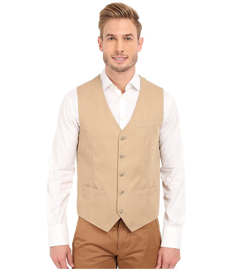 Perry Ellis Solid Slub Linen Cotton Suit Vest Pale Khaki Mens Vest