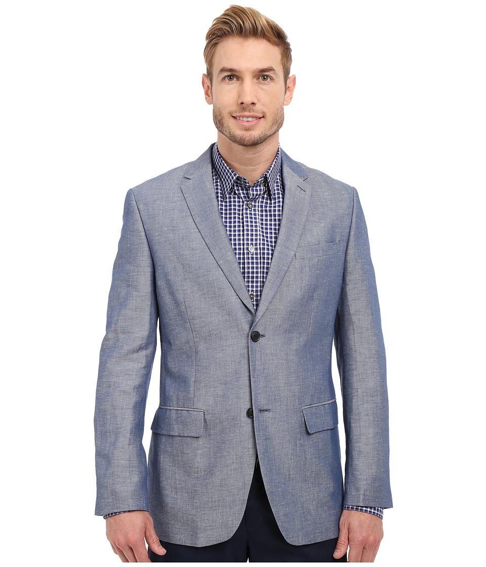 Perry Ellis Linen Cotton Twill Suit Jacket Blueprint Mens Jacket