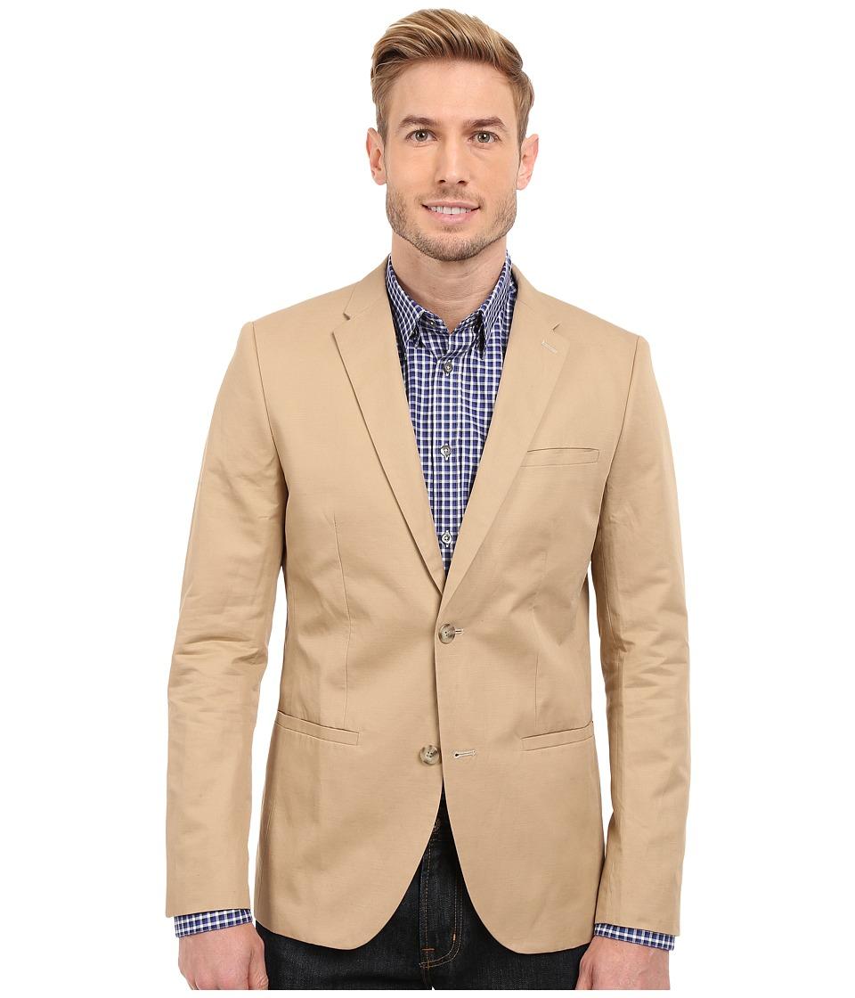 Perry Ellis Solid Slub Linen Cotton Suit Jacket Pale Khaki Mens Jacket