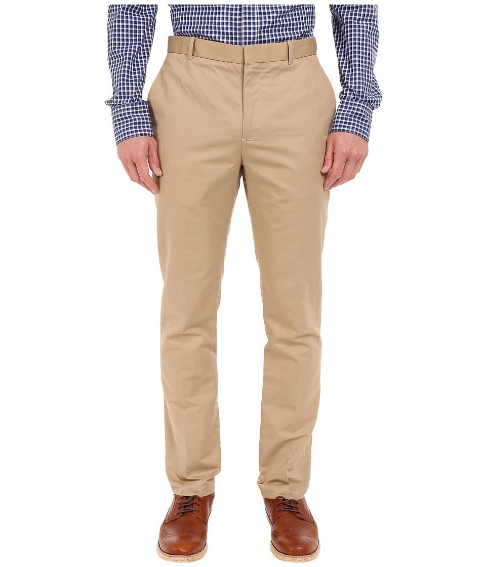 Perry Ellis Solid Slub Linen Cotton Flat Front Pants Pale Khaki Mens Casual Pants