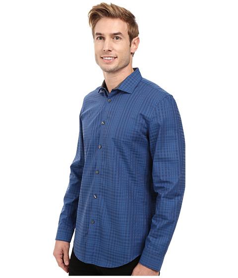 Calvin Klein Long Sleeve Shadow Plaid Shirt Dress Blues - 6pm.com