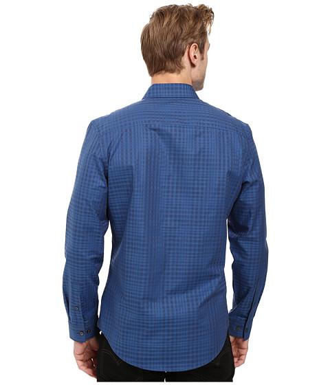 Calvin Klein Long Sleeve Shadow Plaid Shirt Dress Blues ...