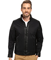 Calvin Klein - Faux Leather/Cotton Nylon Mix Media Jacket