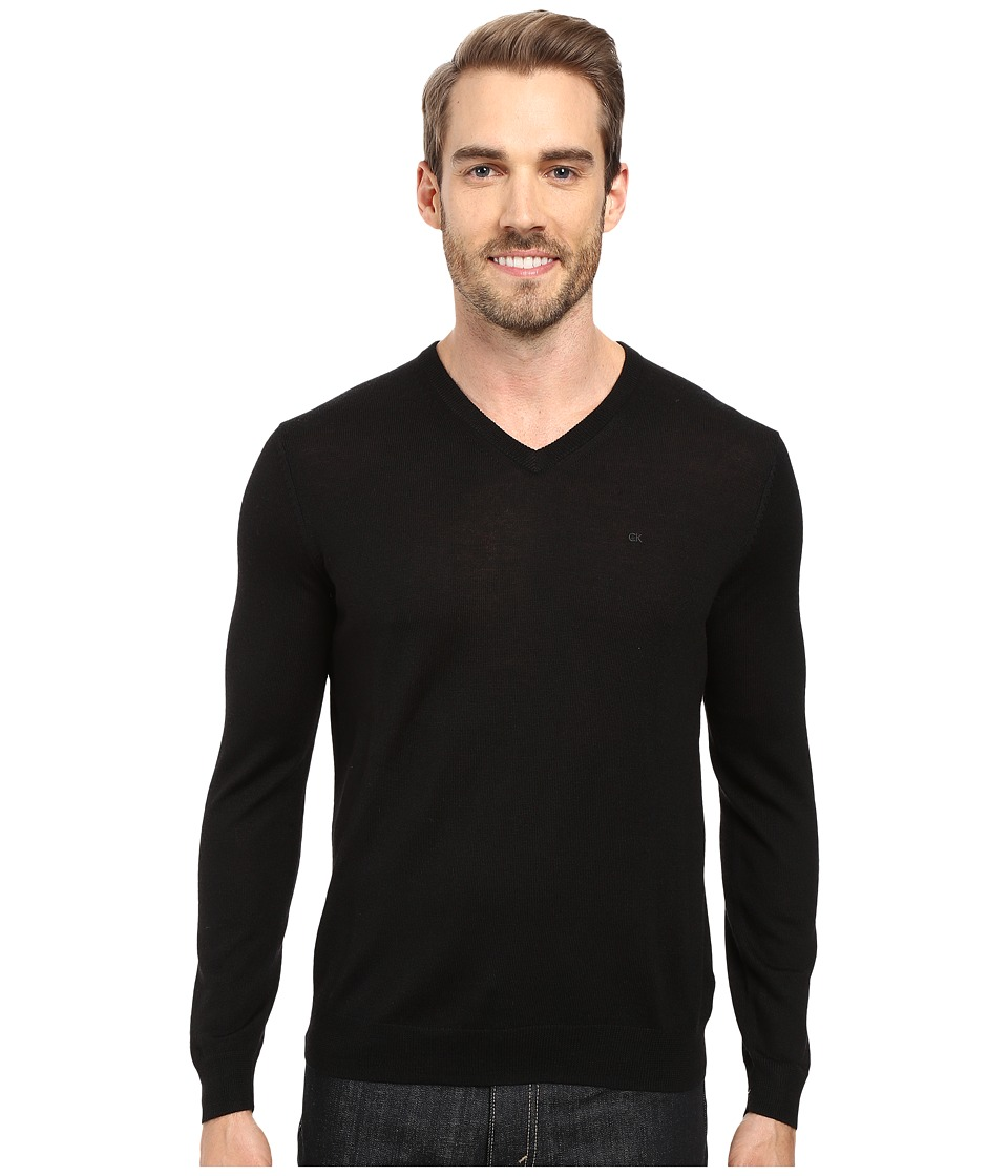 Calvin Klein - Merino Moon and Tipped V-Neck Sweater (Black) Men