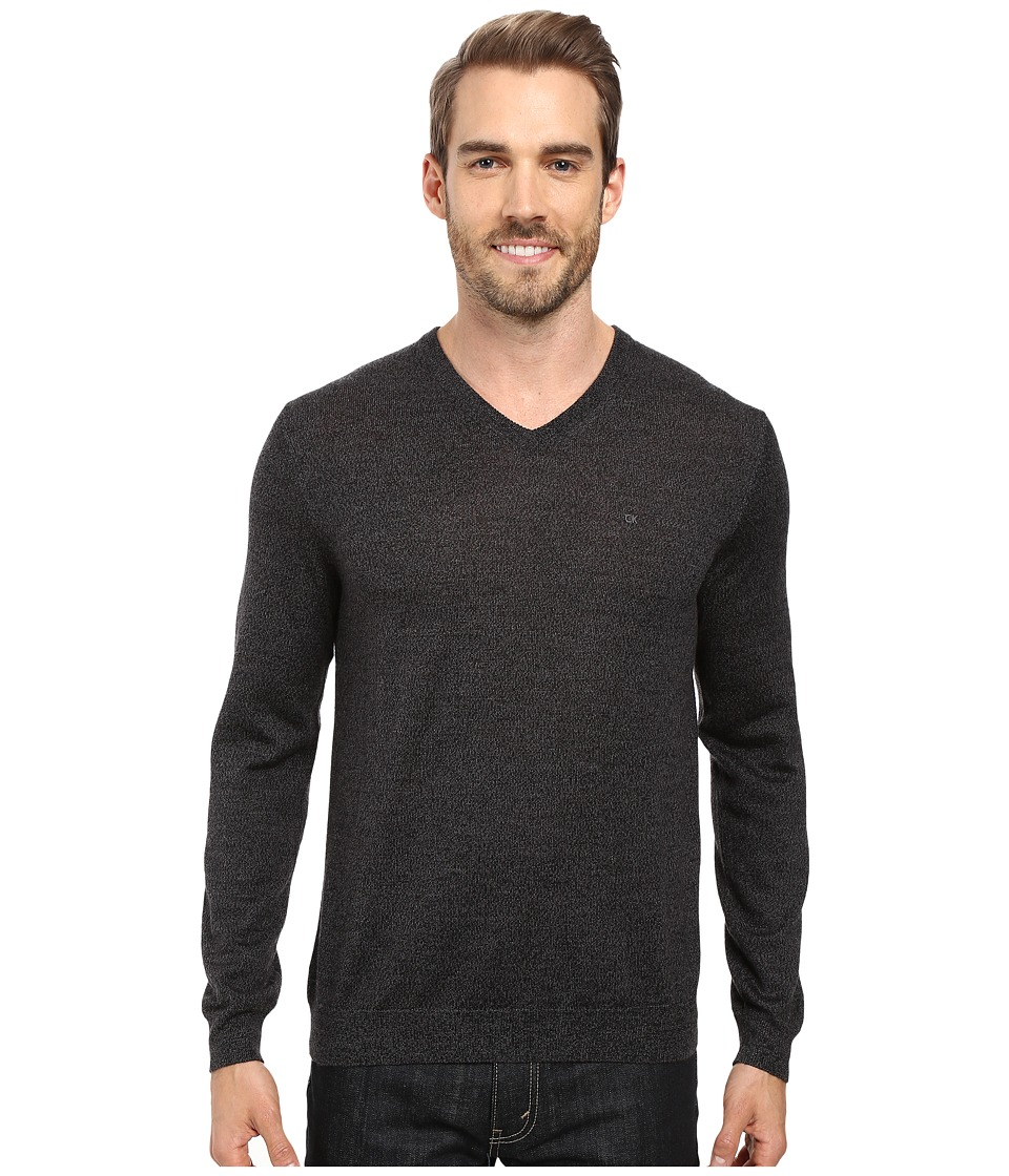 Calvin Klein Solid Merino V-Neck Sweater (Black Jack Heather) Men