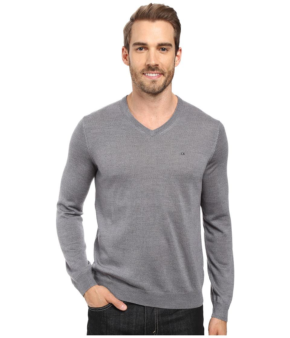 Calvin Klein Solid Merino V-Neck Sweater (Albenga) Men