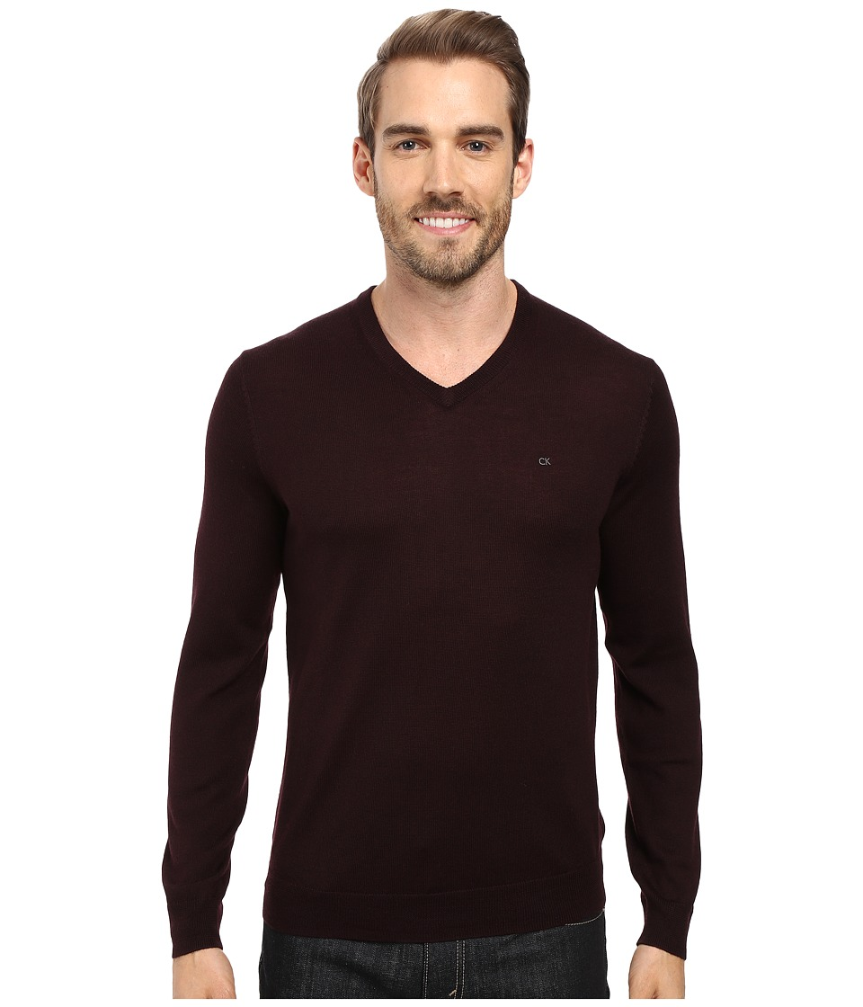 Calvin Klein Solid Merino V-Neck Sweater (Dark Chestnut) ...