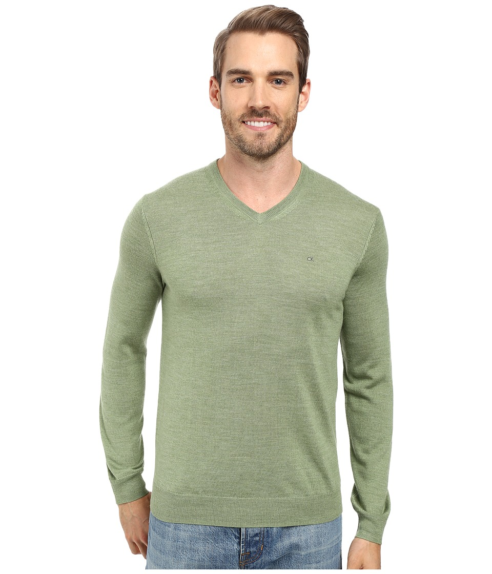 Calvin Klein - Merino Moon and Tipped V-Neck Sweater (Italian Lime) Men