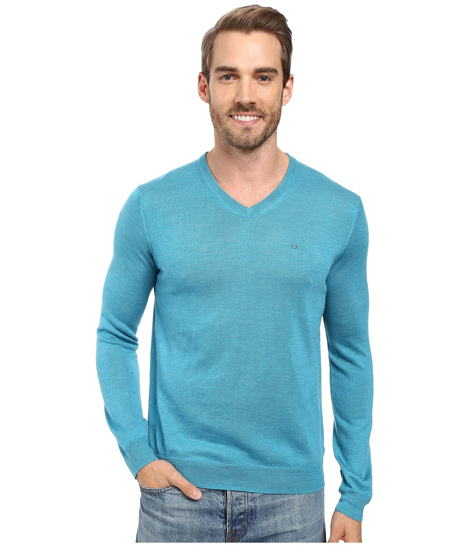 Calvin Klein - Merino Moon and Tipped V-Neck Sweater (Island Water Heather) Men