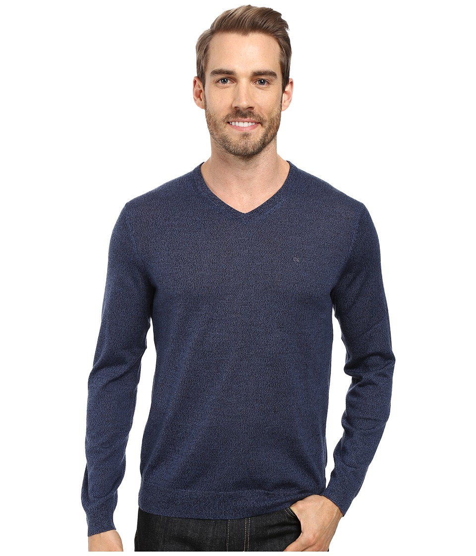Calvin Klein Solid Merino V-Neck Sweater (Indigo Mouline) Men