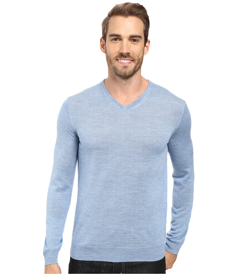 Calvin Klein - Merino Moon and Tipped V-Neck Sweater (Blitz) Men