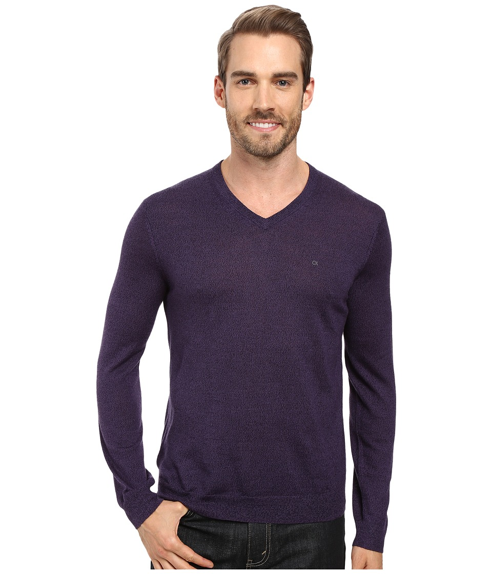 Calvin Klein Solid Merino V-Neck Sweater (Black Amet Mouline) Men