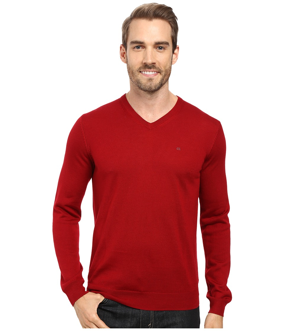 Calvin Klein Solid Merino V-Neck Sweater (Mania) Men