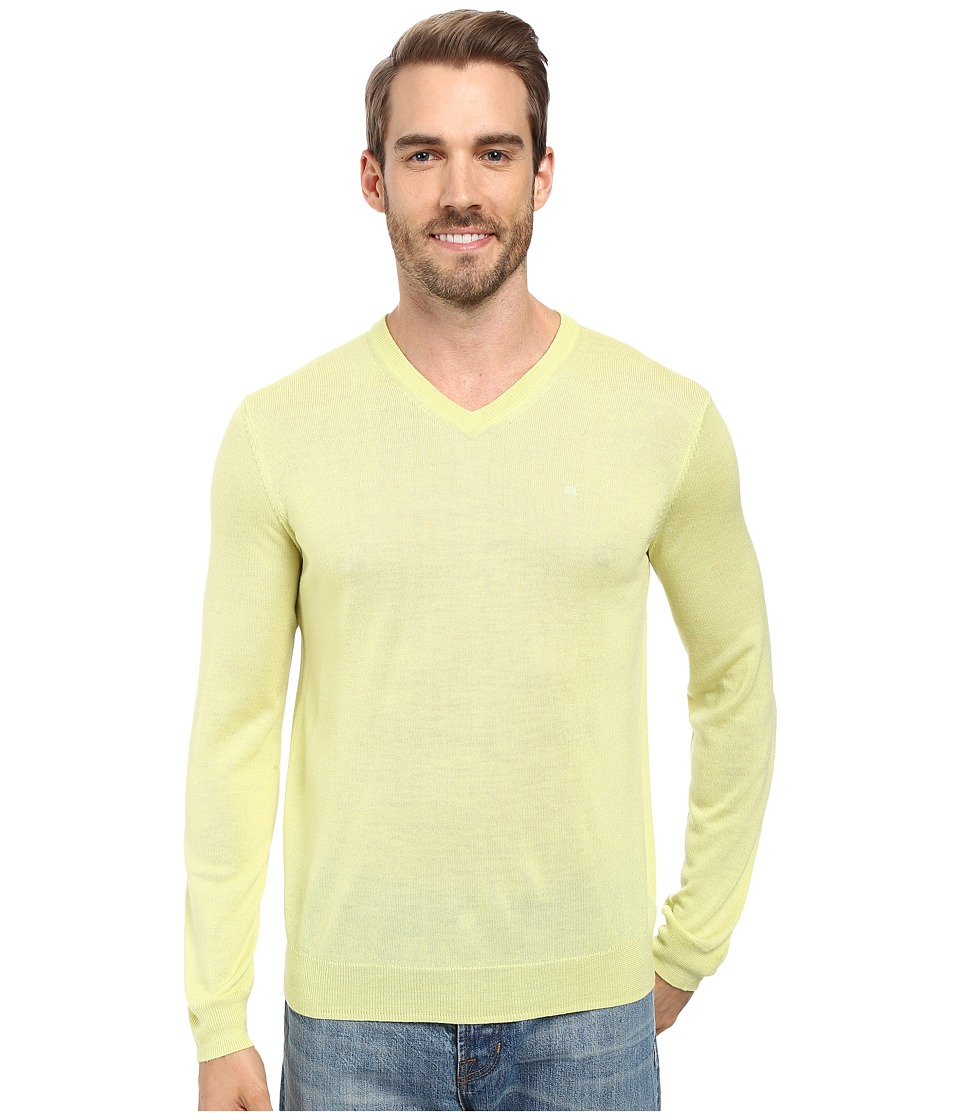 Calvin Klein - Merino Moon and Tipped V-Neck Sweater (Sunny Lime) Men