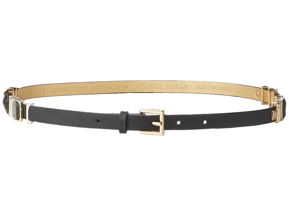 Ivanka Trump 15mm Belt with Jeweled Hip Stations Black Jet Gold Womens Belts