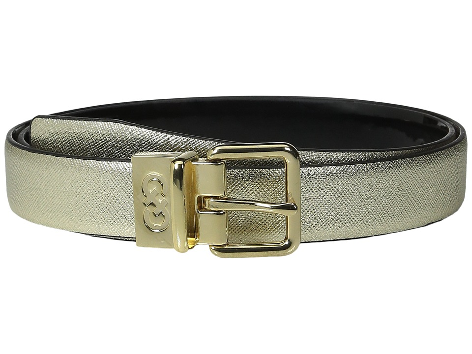 Cole Haan 25mm Saffiano to Patent Feather Edge Reversible Belt Gold Saffiano Womens Belts