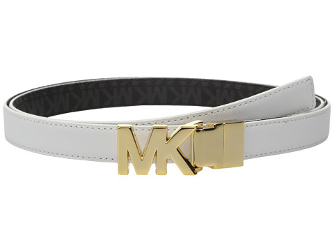 MICHAEL Michael Kors 20mm Reversible Saffiano to Logo PVC on MK Buckle Belt
