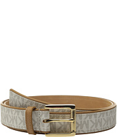 MICHAEL Michael Kors - 32mm Saffiano Belt with Logo PVC Overlay