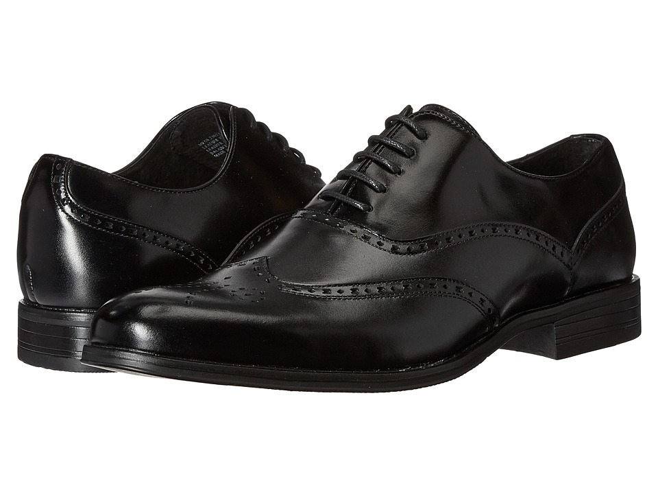 1920s Style Mens Shoes Stacy Adams - Stockwell Wingtip Oxford Black Mens Lace Up Wing Tip Shoes $62.99 AT vintagedancer.com