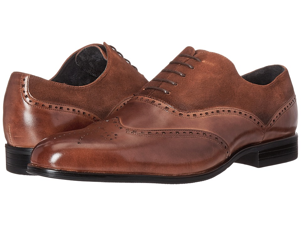 1920s Style Mens Shoes Stacy Adams - Stanbury Wingtip Oxford Cognac Mens Lace Up Wing Tip Shoes $90.00 AT vintagedancer.com
