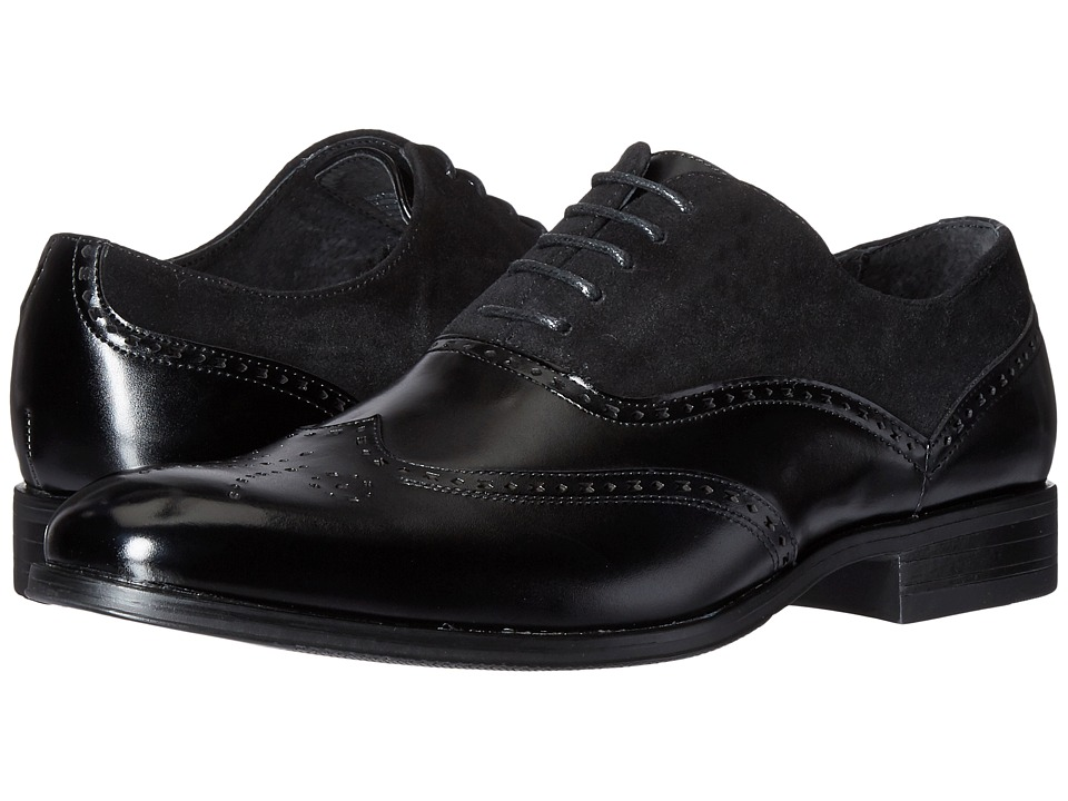 1920s Style Mens Shoes Stacy Adams - Stanbury Wingtip Oxford Black Mens Lace Up Wing Tip Shoes $90.00 AT vintagedancer.com