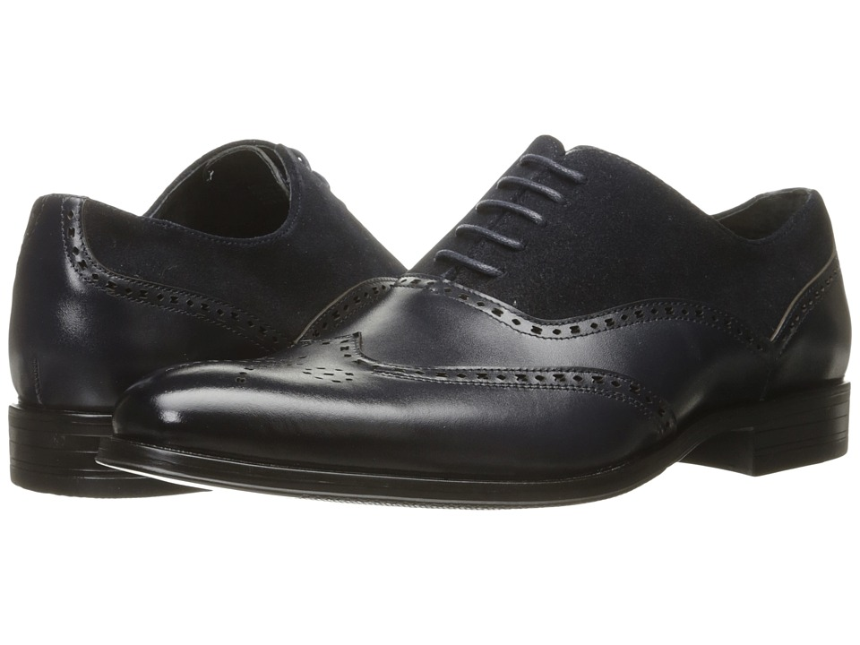 1950s Style Mens Shoes Stacy Adams - Stanbury Wingtip Oxford Navy Mens Lace Up Wing Tip Shoes $79.99 AT vintagedancer.com