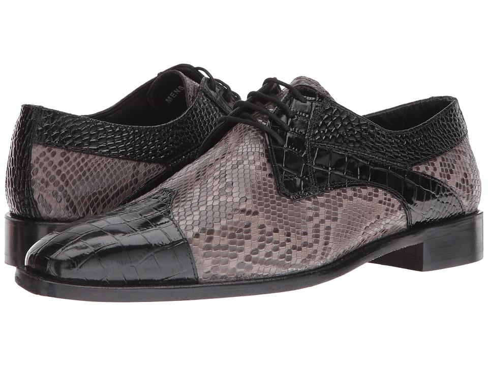 Stacy Adams Rivello Leather Sole Modified Cap Toe Oxford (Black/Gray) Men