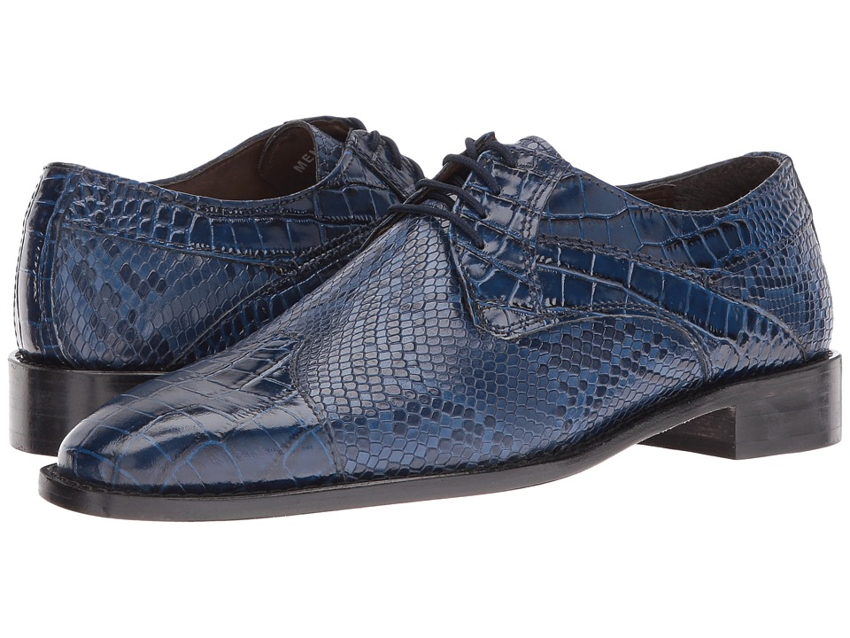 1960s Men's Clothing, 70s Men's Fashion Stacy Adams - Rivello Leather Sole Modified Cap Toe Oxford Dark Blue Mens Lace Up Cap Toe Shoes $72.99 AT vintagedancer.com