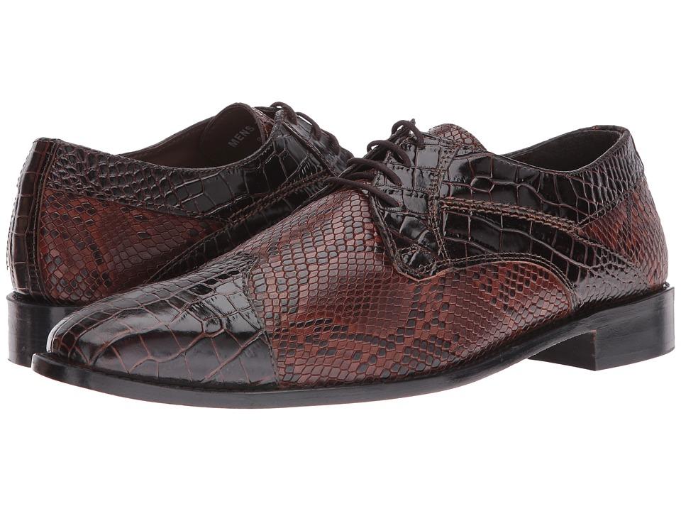 Stacy Adams Rivello Leather Sole Modified Cap Toe Oxford (Brown/Cognac) Men