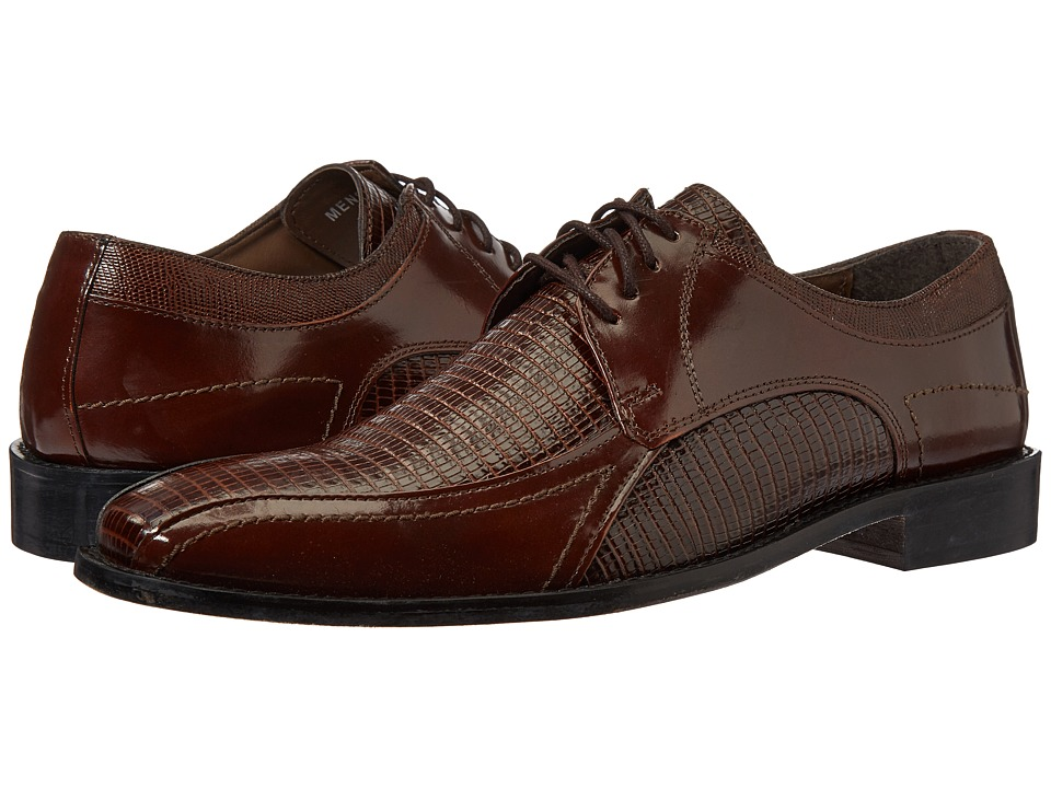 Stacy Adams Graziano Leather Sole Bike Toe Oxford (Cognac) Men
