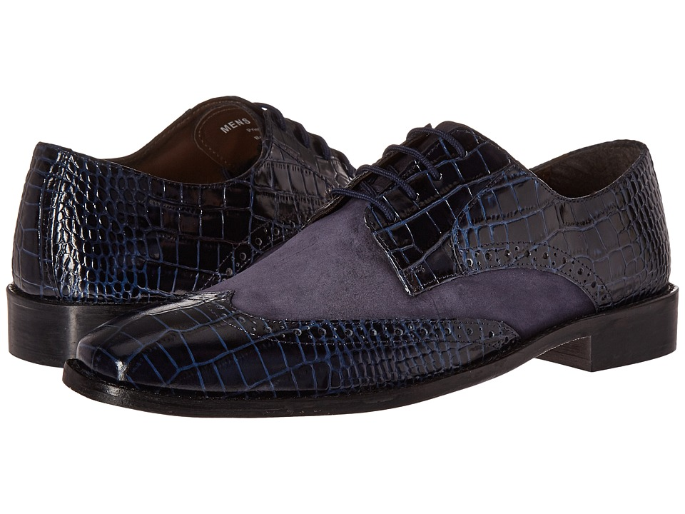 Stacy Adams Arturo Leather Sole Wingtip Oxford (Dark Blue) Men