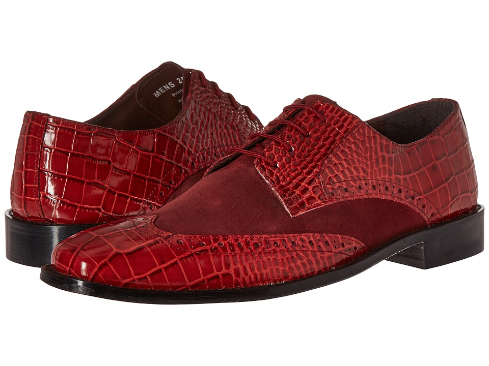 Stacy Adams Arturo Leather Sole Wingtip Oxford (Red) Men