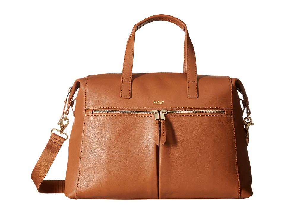 KNOMO London - Audley Leather Slim Laptop Tote (Caramel) Tote Handbags
