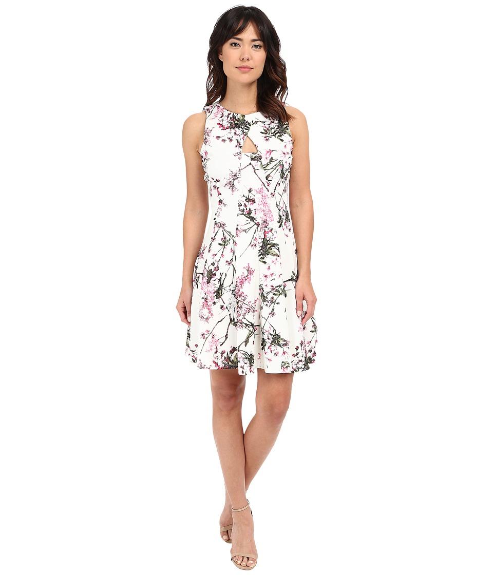 Christin Michaels Alyssa Keyhole Front Flared Dress Ivory/Pink Womens Dress