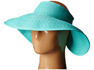 SCALA Packable Two-Tone Paper Braid Visor (Aqua)