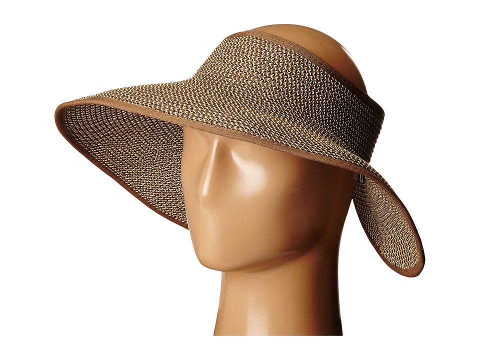 SCALA - Packable Two-Tone Paper Braid Visor (Brown/Natural) Casual Visor
