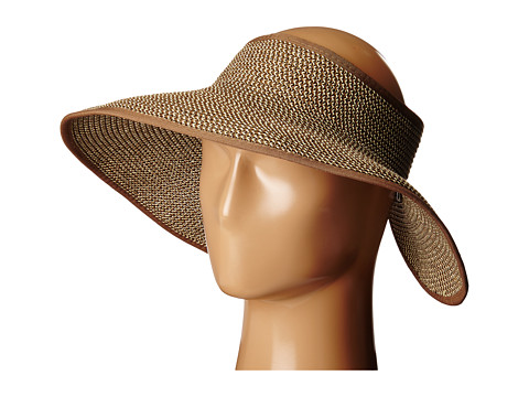 SCALA Packable Two-Tone Paper Braid Visor - Brown/Natural